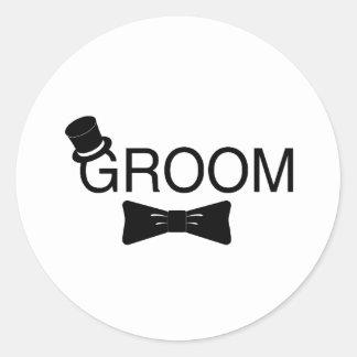 Groom Top Hat Bowtie Stickers