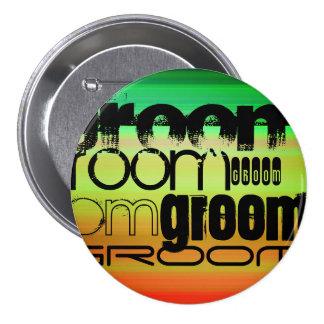 Groom; Vibrant Green, Orange, & Yellow 3 Inch Round Button