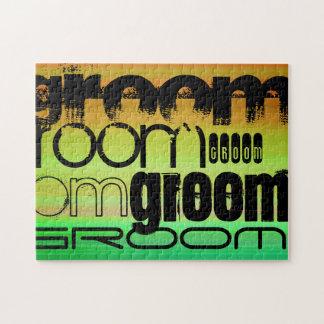 Groom; Vibrant Green, Orange, & Yellow Jigsaw Puzzles