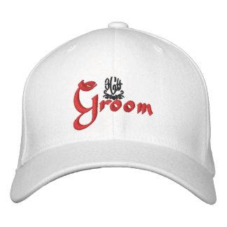Groom Wedding Black Embroidered Hats