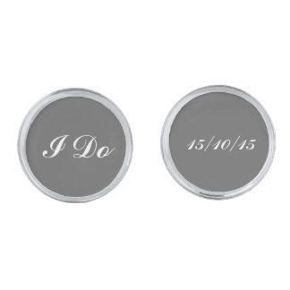 Groom wedding date silver finish cuff links