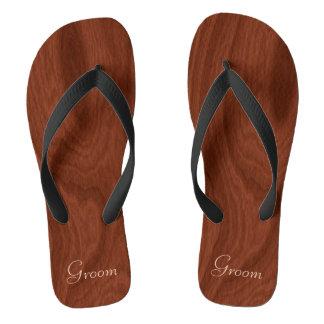 Groom Wedding Day Rustic Wood Look Beach Honeymoon Flip Flops