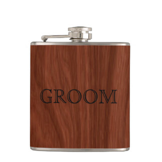 Groom Wedding | Rustic Woodgrain Flasks