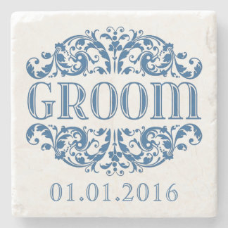 Groom wedding stone coasters Save the Date Blue