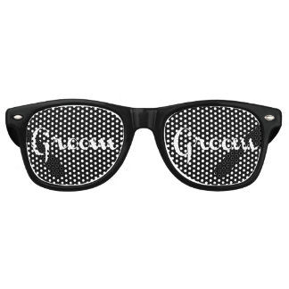 Groom White on Black Retro Sunglasses