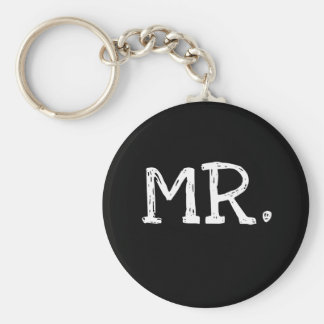 Groom White Text Mr. Basic Round Button Key Ring