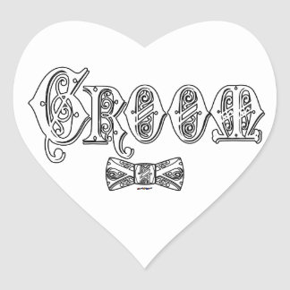Groom with Bow Tie White and Black Type Stickers