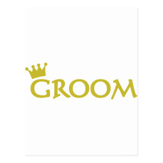 groom with crown icon postcard