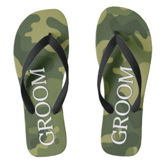 Groom with Green Camoflauge Pattern Flip Flops