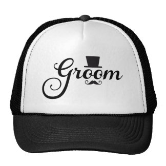Groom with hat and mustache word art text design
