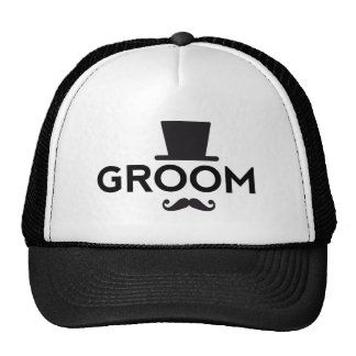 Groom with hat and mustache word art text design trucker hats
