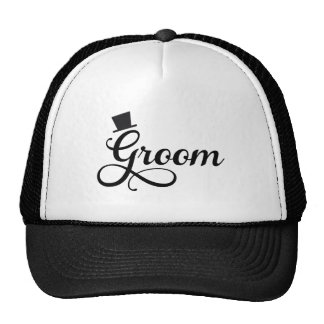Groom with hat, word art text design mesh hat