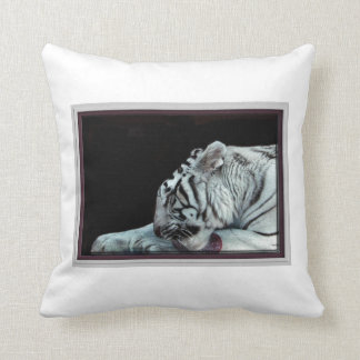 Grooming White Tiger Throw Cushion