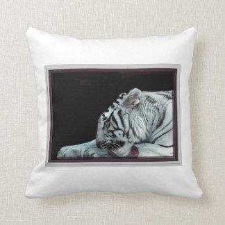 Grooming White Tiger Throw Cushion
