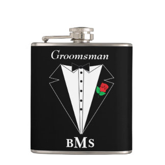 Grooms Bachelor Party - Monogram Hip Flask