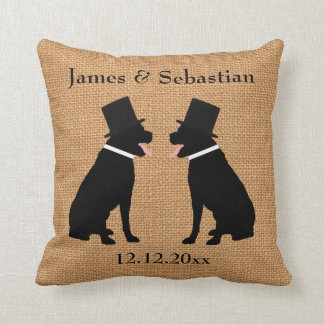 Grooms Black Labradors Personalized Gay Wedding Cushion