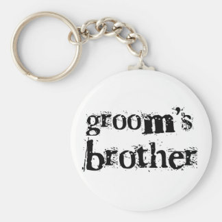 Groom's Brother Black Text Basic Round Button Key Ring