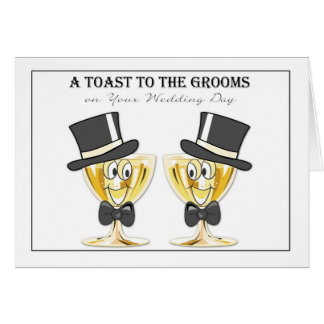 Grooms Champagne Toast, Gay Male Wedding Congrats Card