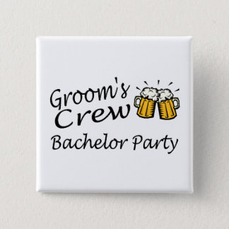 Grooms Crew Bachelor Party 15 Cm Square Badge