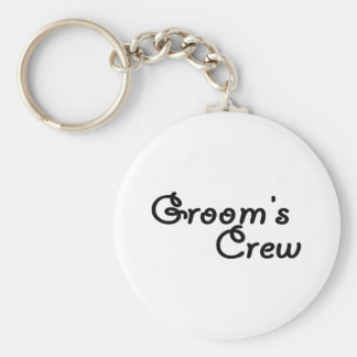 Grooms Crew Basic Round Button Key Ring