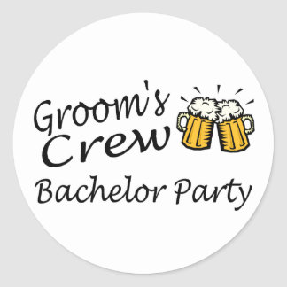 Grooms Crew (Beer Jugs) Classic Round Sticker