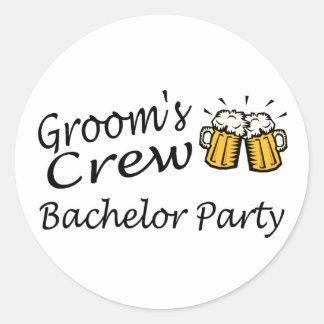 Grooms Crew Beer Jugs Round Sticker