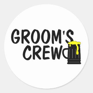 Grooms Crew (Beer) Round Sticker