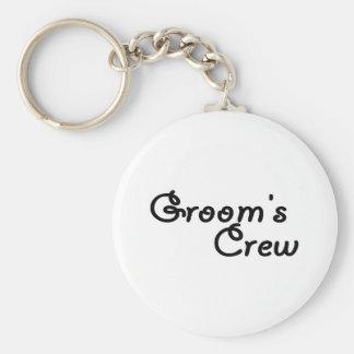 Groom's Crew Basic Round Button Key Ring