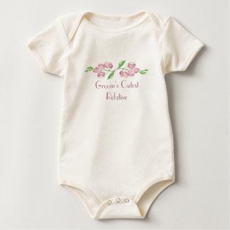 Groom's Cutest Relative Watercolor Cherry Blossom Baby Bodysuit