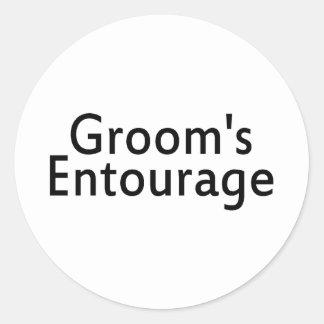 Grooms Entourage Black Round Sticker