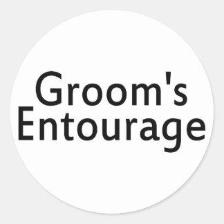 Grooms Entourage Black Round Stickers