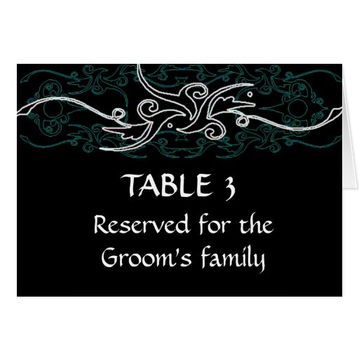 Grooms family blue and black seating chart card