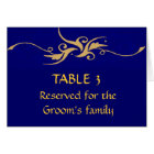 Grooms family blue and gold seating chart card
