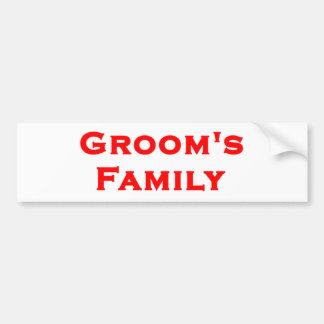 groom's family wedding gear bumper sticker