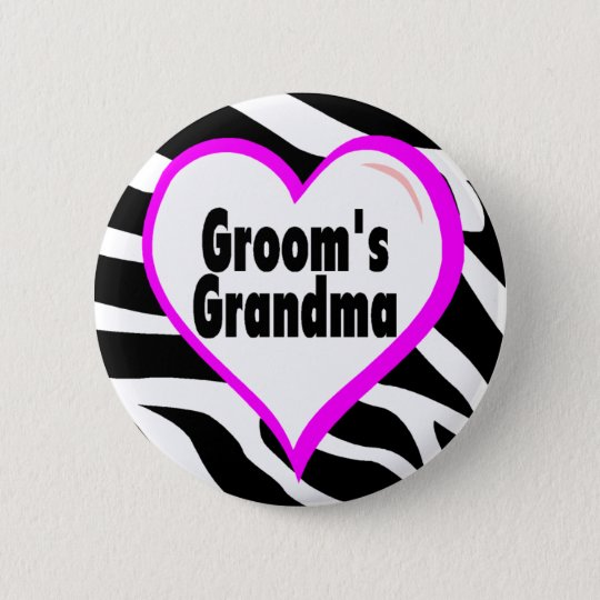 Grooms Grandma (Heart Zebra Stripes) 6 Cm Round Badge