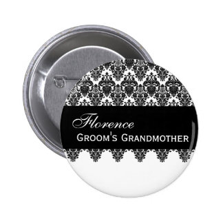 GROOM'S GRANDMOTHER Button Black and White Damask