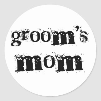 Groom's Mom Black Text Round Sticker