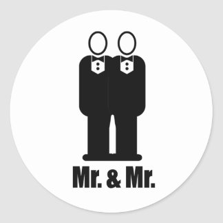 GROOMS MR AND MR - png Round Stickers