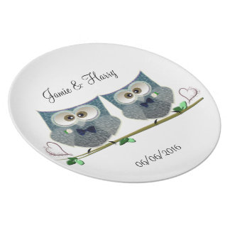 Grooms Owls Wedding Gifts Plate