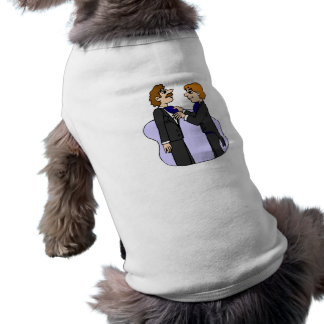 Grooms preparing for wedding dog clothing
