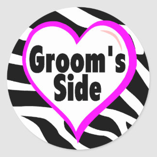 Grooms Side (Zebra Print) Round Sticker