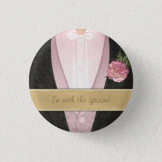 Grooms Tuxedo (pink) Custom Wedding 3 Cm Round Badge