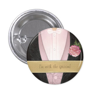 Grooms Tuxedo pink Custom Wedding Pin