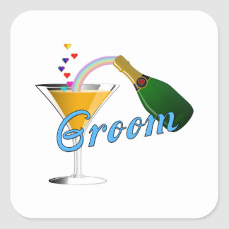 Grooms Wedding Champagne Toast Square Sticker