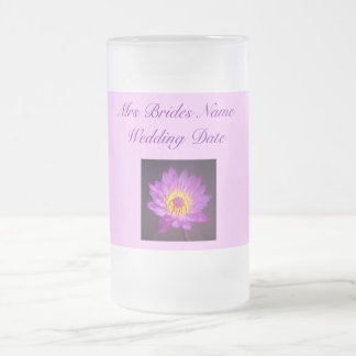 Grooms Wedding Glass - Purple Lotus Flower Mug