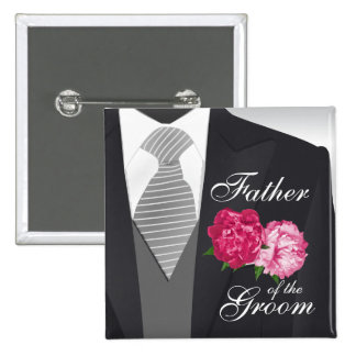 Groom's Wedding Party - Pink Floral 15 Cm Square Badge