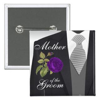 Groom's Wedding Suit Bridal Party - Purple 15 Cm Square Badge