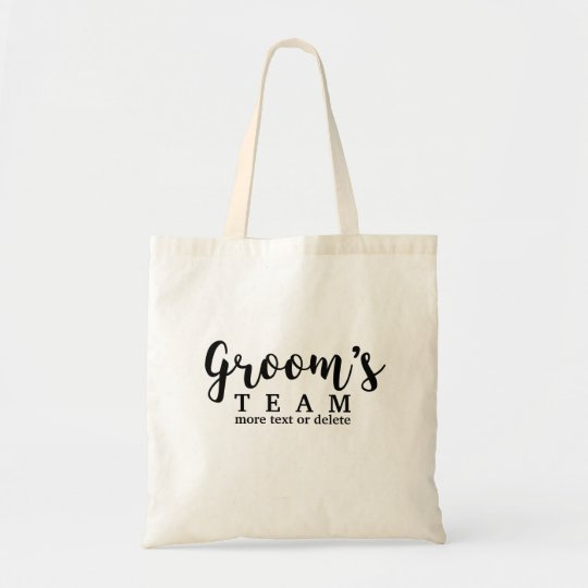 Groom's Wedding Team, Crew, Squad, Modern Script Tote