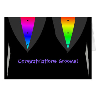 Grooms With Hearts Aglow with Pride - Gay Wedding Greeting Card