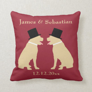 Grooms Yellow Labradors Personalized Gay Wedding Cushion